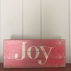 Wooden Red Distressed JOY sign